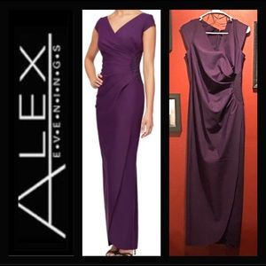 Alex Evenings Long Slimming Cap Sleeve Dress